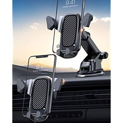 VANMASS Cell Phone Holder for Car, Auto Clamp Car Mount for iPhone, Car Phone Mount with Expansion Tray Mounted on Dashboard/Ventilation Hole Fits Most Phones with Heavy Case and All Smartphones: Electronics