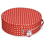 Zicac Stars Printed Round Dismountable Kids Baby Toddler Infant Harness Cushion Dining Chair On the Go Seat Highten Pad Travel Storage Chair with Anti Slip Granules (Red)