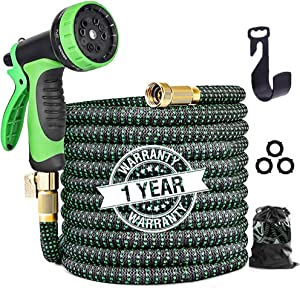 "Expandable Garden Hose 50ft, Leakproof Lightweight Flexible Water Hose with 10 Function Sprayer, Expanding Garden Hoses with 3/4"" Solid Brass Fittings, Durable 3-Layers Latex Gardening Flexible Hose"