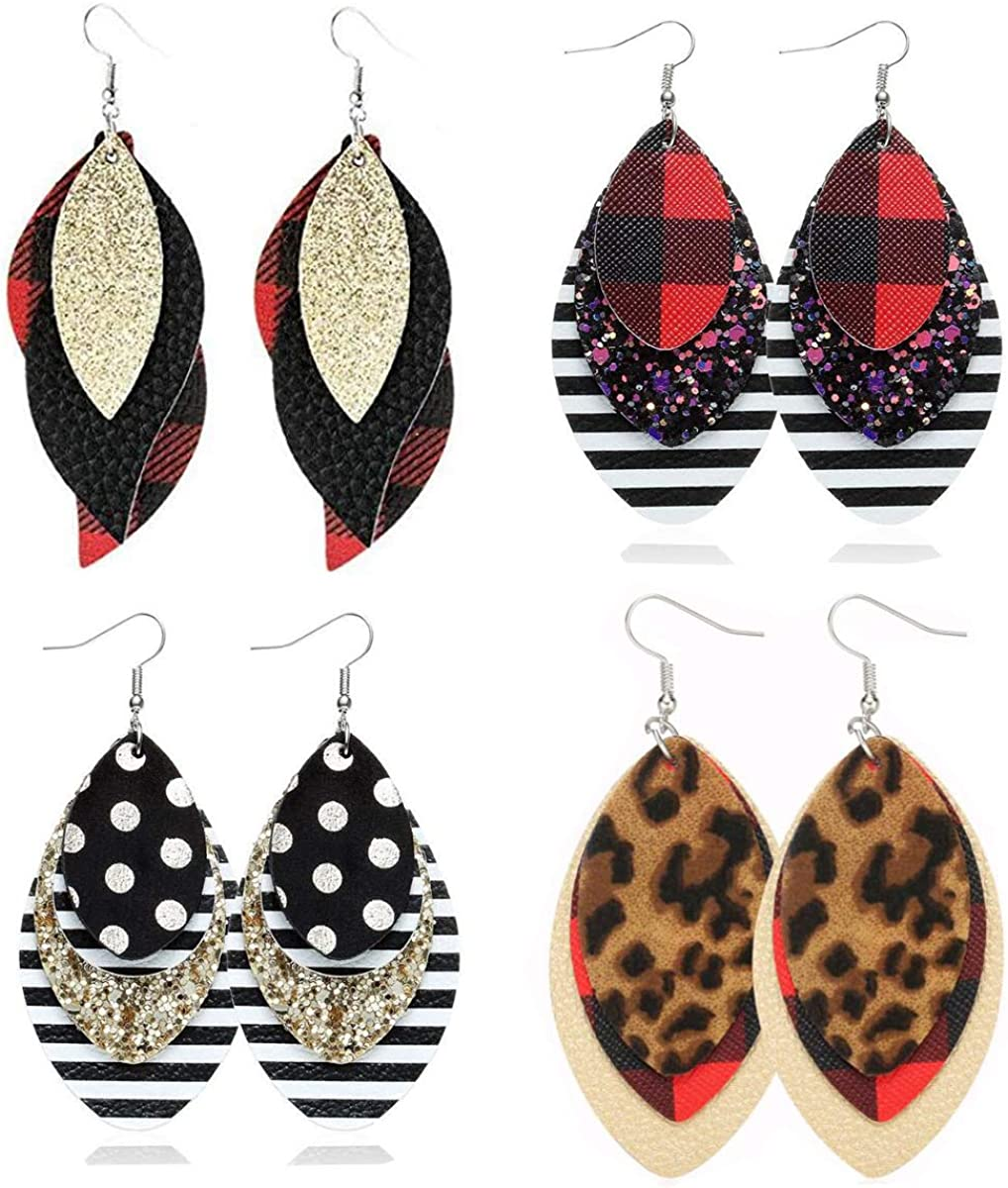 Red and Black and White Striped Layered Faux Leather Earrings