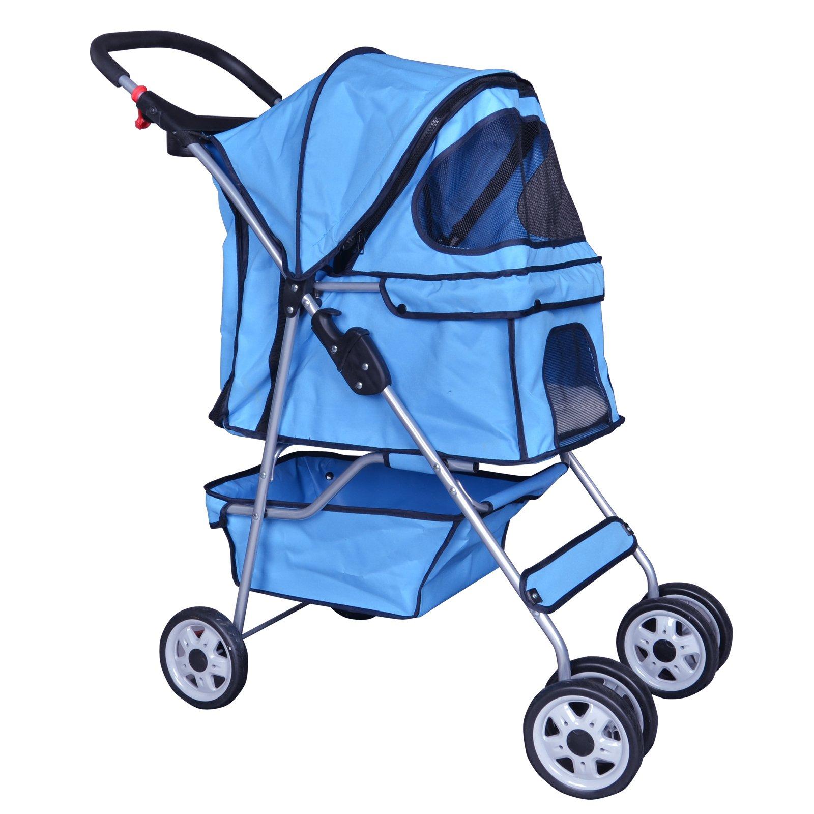 BestPet Blue 4 Wheels Pet Stroller Cat Dog Cage Stroller Travel Folding Carri...