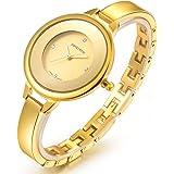 レディース腕時計 ラインストーン チェーンブレスレット 天然ダイヤモンド 天然シェル文字盤 女性 クォーツ 腕時計
