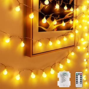 Globe String Lights, 40 LED 20 Feet 8 Modes Waterproof Christmas Decoration Fairy Globe Ball Lights with Remote and Timer for Indoor Outdoor Birthday Party Garden Bedroom Wall(Warm White)