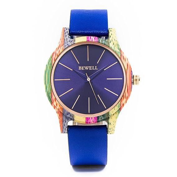 Bewell Reloj de bambú color de lujo de las mujeres con la correa de cuero genuina