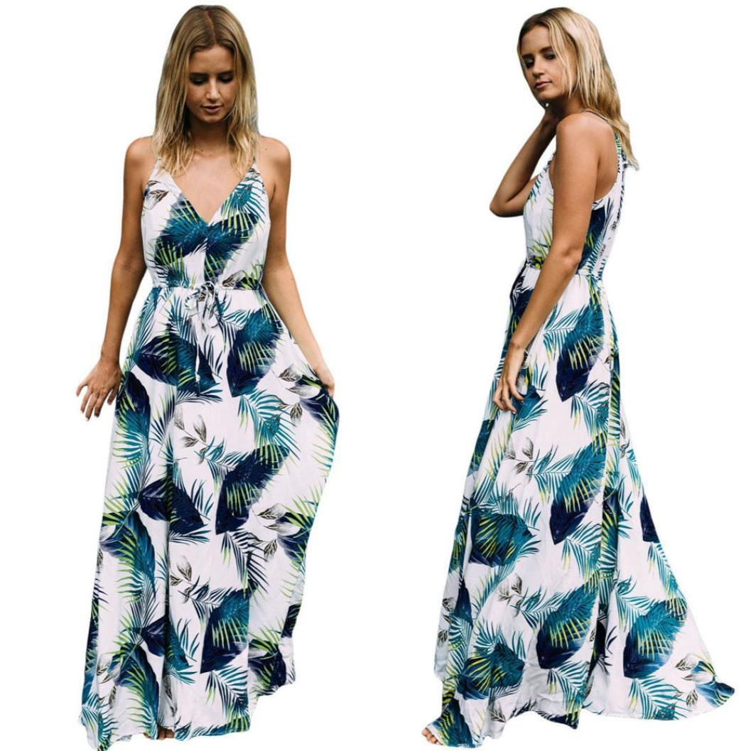 c61118d0b88 HODOD Summer Fashion Women s Blue Bohemia Style Printed Long Evening Party  Cocktail Dress Sleeveless Beach Dress at Amazon Women s Clothing store