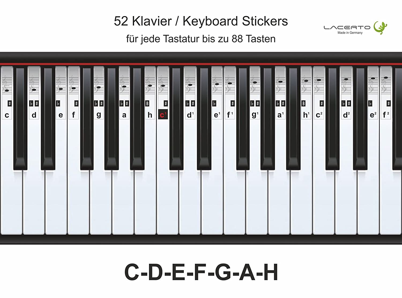 Lacerto®   Pegatinas para piano, teclado, notas, C - D - E - F - G - A - H, 52pegatinas
