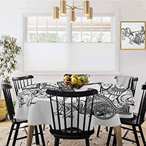 """shirlyhome Toga Party Covers for The Home Table Cover Roman Warrior in a Chariot Pulled by Two Horses Historic Carriage Monochrome for Kitchen Dinner Table Black White (Diameter 70"""")"""