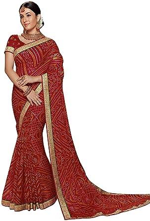303cba0b29 Laxmipati Sarees Women's Chiffon Bandhani Print Saree (5478, Maroon):  Amazon.in: Clothing & Accessories