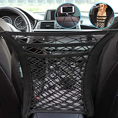 3-Layer Car Mesh Organizer, Headrest Hooks with Phone Holder, Seat Back Cargo String Net Pouch Holder, Vehicle Organizer Car Barrier of Backseat Kids Pet Dog, Cargo Tissue Purse Holder, Driver Storage: Home Improvement