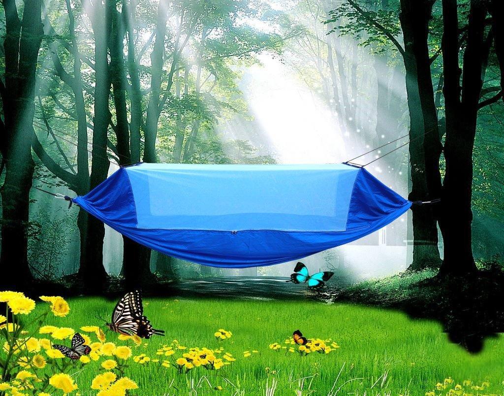 Hammock with Mosquito Netパラシュート生地ハンモックネット耐久性とポータブルツリーテントアウトドアスーツ用2 Persons B07CJC7V6H ブルー ブルー