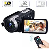 Digital Video Camcorder Camera with IR Night Vision, VPRAWLS 1080P Full HD 24.0 Mega Pixels 16X Zoom Portable Mini Handheld Video Camera Recorder DV 3 Inch LCD Screen (2 Batteries Included)