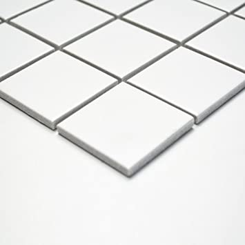 Fliesen Mosaik Mosaikfliese Bad Küche Keramik Quadrat Uni Weiß Matt 6mm Neu  #251