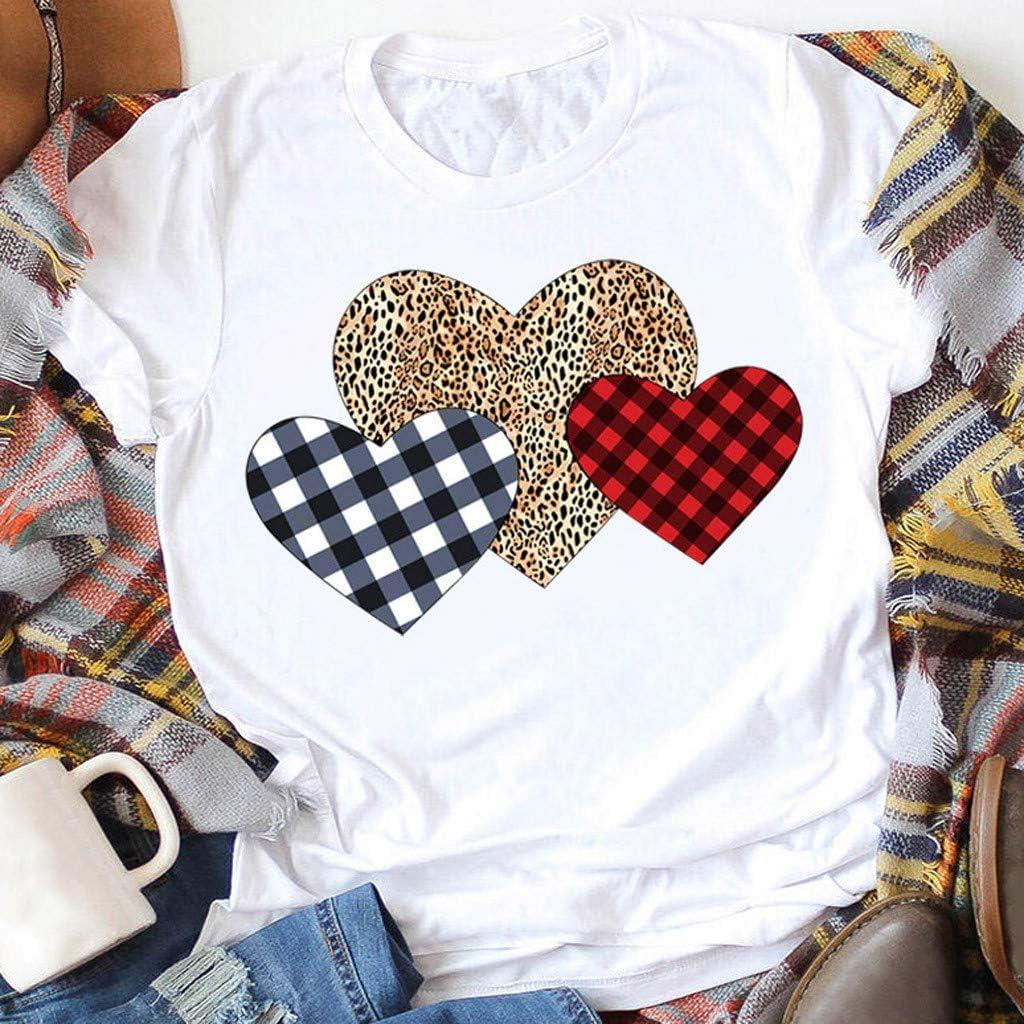 Pumsun Women Buffalo Plaid /& Leopard Heart T-Shirt Casual Loose Short Sleeve Tee Blouse Tops