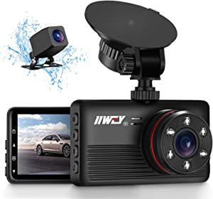 IIWEY 2K&1080P Dual Dash Camera for Cars with Infrared Night Vision, 1440P Max, Front and Rear Dash Cam with 3.2 Inch IPS Screen, 170°Wide Angle Driving Recorder, Motion Detection, Parking Monitor