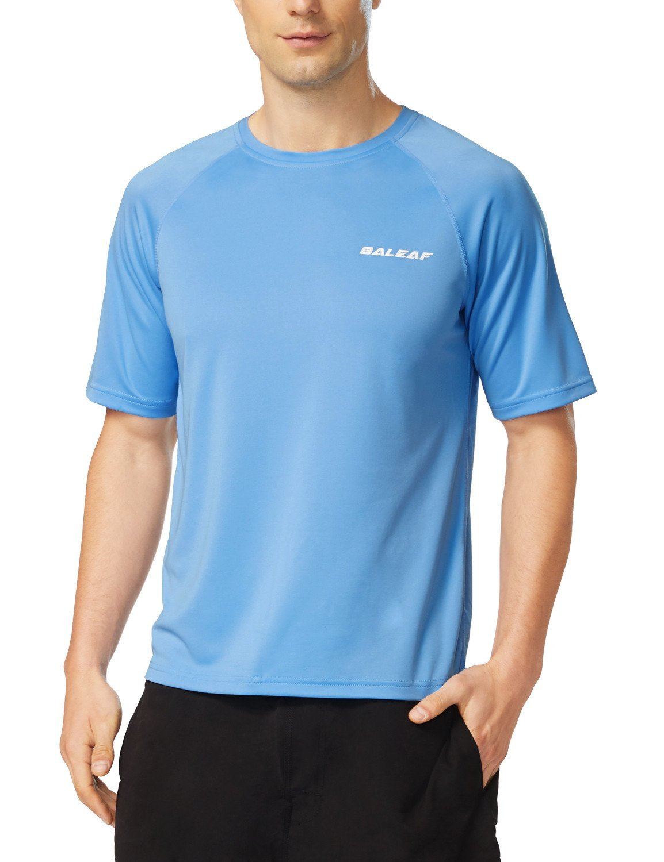 Baleaf Men's Short Sleeve Solid Sun Protection Quick-Dry Rashguard Swim Shirt UPF 50+ Lake Blue Size XL