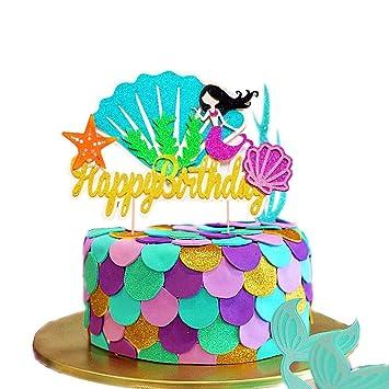 JeVenis Glitter Little Mermaid Shell Cake Topper Happy Birthday Picks Decoration For
