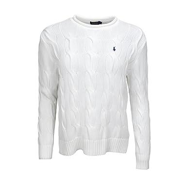 Ralph Lauren Pull col Rond roulotté torsadé Blanc pour Femme  Amazon ... 580f9a94a3d1