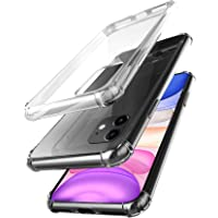 amCase Hybrid Shock Absorbing TPU Frame & Rigid Back Plate Protective Case for 2019 Apple iPhone 11 (Clear)