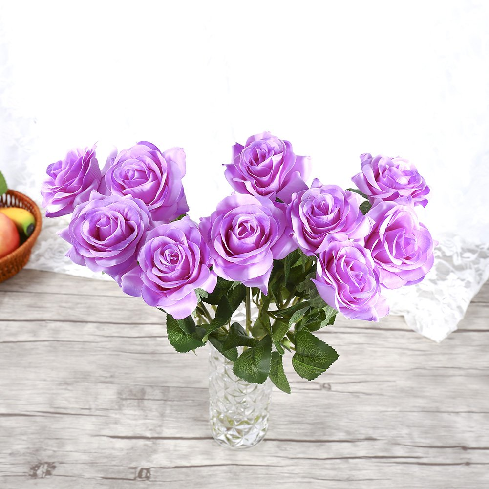 Purple Bridal Wedding Bouquet for Home Garden Party Wedding Coffee House Floral Centerpieces Decoration Wal front 10 Heads Artificial Rose Flowers