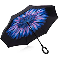 Dopobo Double Layer Inverted Umbrella Cars Reverse Umbrella Extremely Waterproof and Windproof Inverted Umbrella with C-Shaped Handle (B-D)