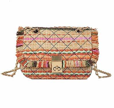 0764466eb7 Skyseen Women Girls Summer Straw Crossbody Handbag Shoulder Chain Bag:  Handbags: Amazon.com