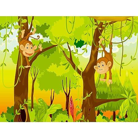 Fototapeten Kinderzimmer Affen Dschnungel 352 x 250 cm Vlies Wand Tapete Dekoration Wandbilder XXL Moderne Wanddeko - 100% MA
