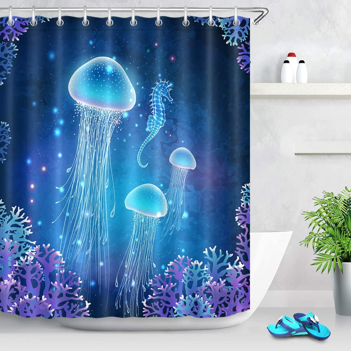 LB Magic Jellyfish Shower Curtain Blue Medusa Underwater Sea Life Shower Curtain Kids Funny Aquatic Bathroom Set,Waterproof Fabric 60x72 Inch with 12 Hooks