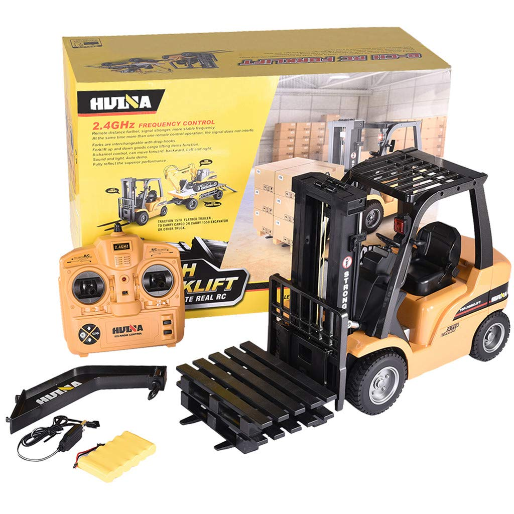 Roisay Construction Vehicle Series - Simulation Toys 1577 1/10 2.4G 8CH Alloy 2-in-1 Forklift Truck Crane RC Car RTR Multi-Function Toy American Warehouse Fast Logistics