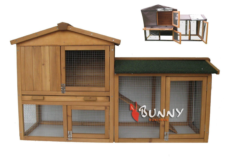 Bunny Business The Grove Doppeldecker-Laufstall, inkl. Abdeckung, für Kaninchen / Meerschweinchen, Braun