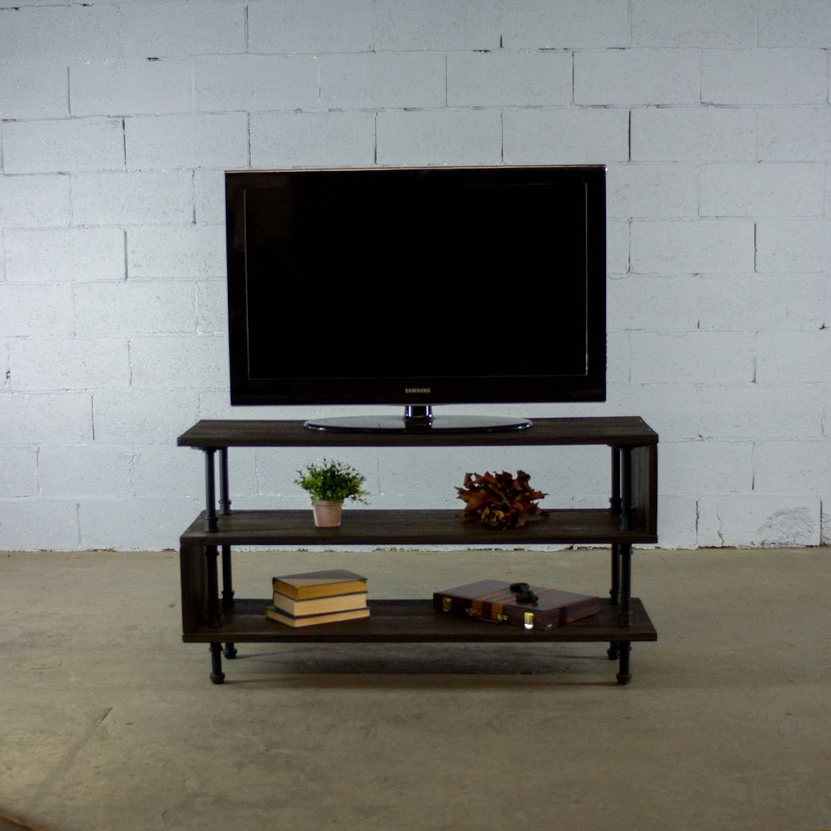 Furniture pipeline 48 tucson modern industrial solid sustainable wood wooden tv stand game room living room bedroom furniture dark brown stained wood