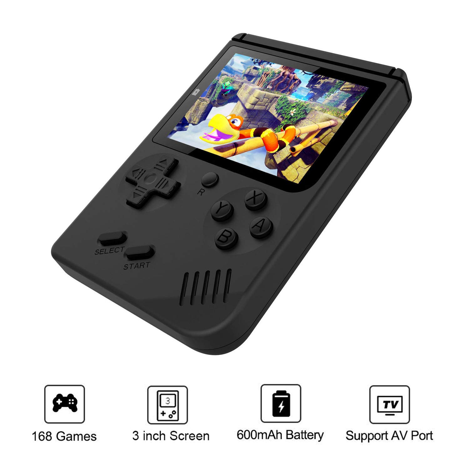 JAFATOY Retro Handheld Games Console - 168 Classic Games 8 Bit Games 3 inch Screen Video Games with AV Cable Play on TV (Black) by JAFATOY (Image #3)