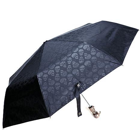 singdv diseño de calavera cabeza mango paraguas automático plegable portátil Sombrilla Negro
