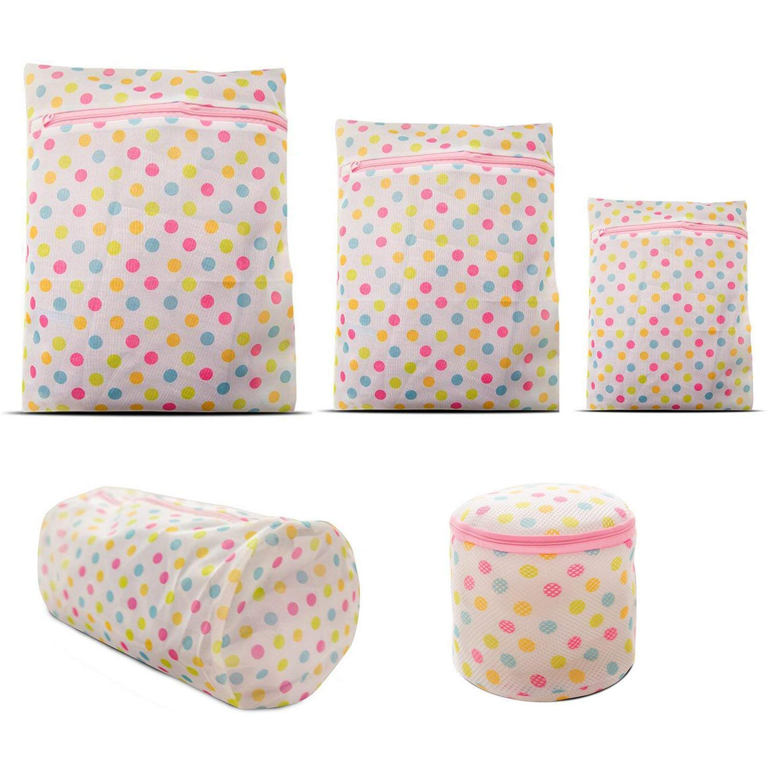 Laundry Bags 5 Packs Laundry Net ONEGenug Mesh Washing Bags with Zipper for Underwear, Bra, Socks, Shirt, Sweater, Baby Clothes etc.