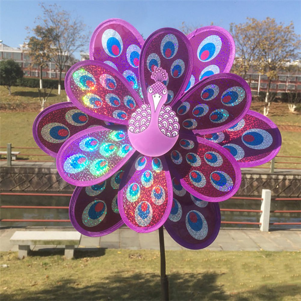 Kalttoy Double Layer Peacock Sequins Windmill Colorful Wind Spinner Kids Toy New ORANGE