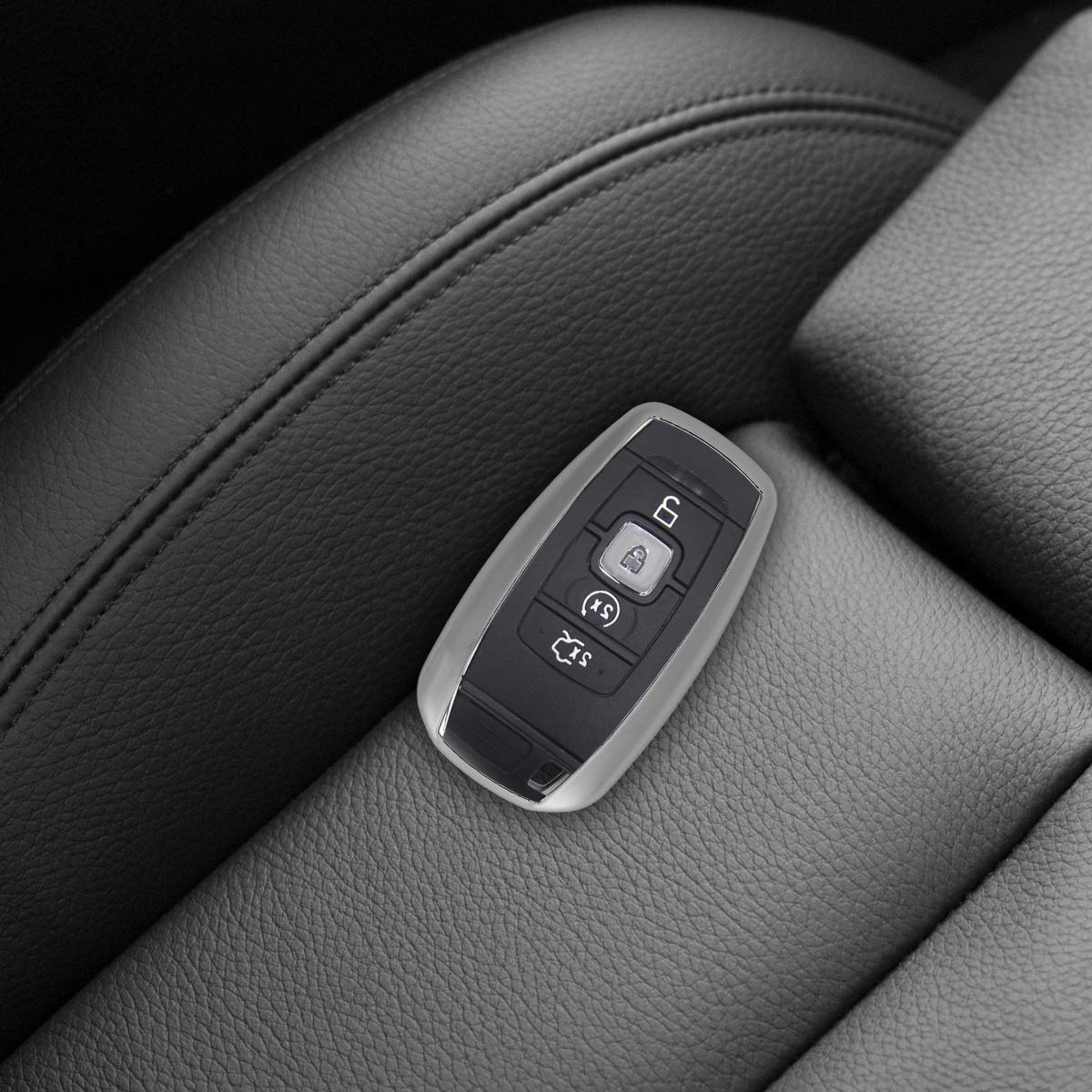 kwmobile Car Key Cover for Lincoln Silver High Gloss Soft TPU Silicone Protective Key Fob Cover for Lincoln 4-Tasten Smart Key Autoschl/üssel