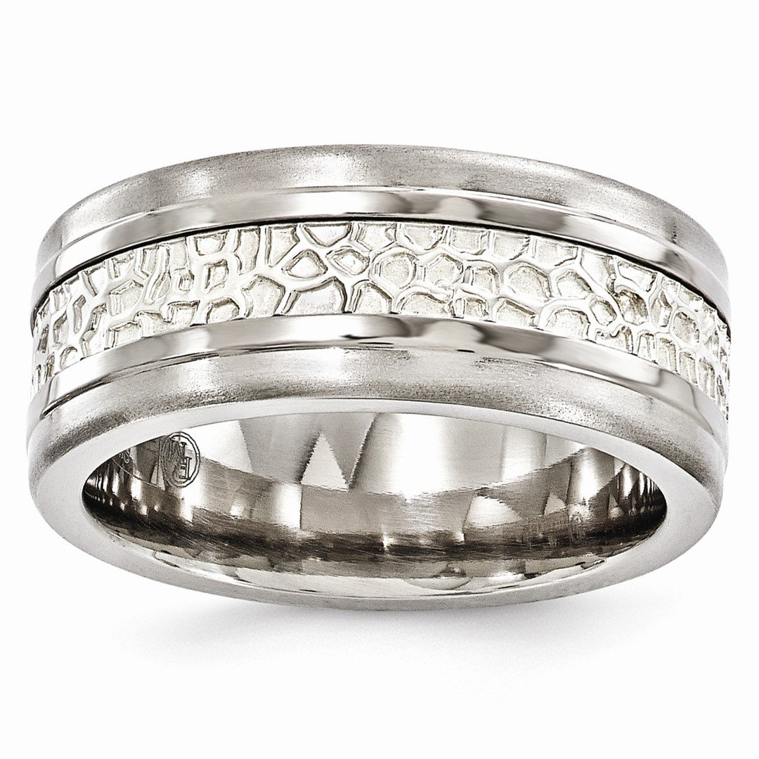 ICE CARATS Edward Mirell Titanium 925 Sterling Silver Brushed 9mm Band Ring Size 9.50 Wedding Man Classic Flat Fancy Precious Metal Fine Jewelry Gift Set For Women Heart