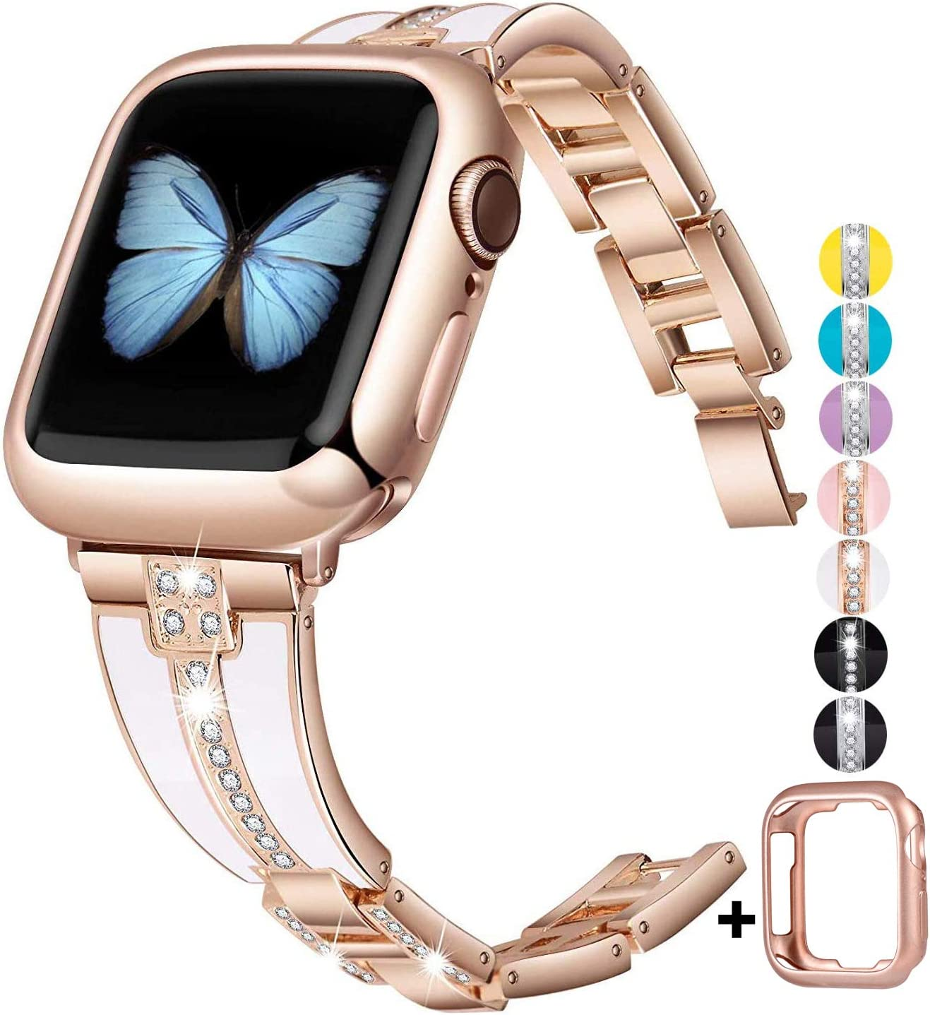 JSGJMY Bling Bands Compatible with Apple Watch Band 38mm 40mm 42mm 44mm with Case,Women Diamond Rhinestone Metal Jewelry Wristband Strap for iwatch Series SE/6/5/4/3/2/1 (Rose Gold+White, 38mm/40mm)