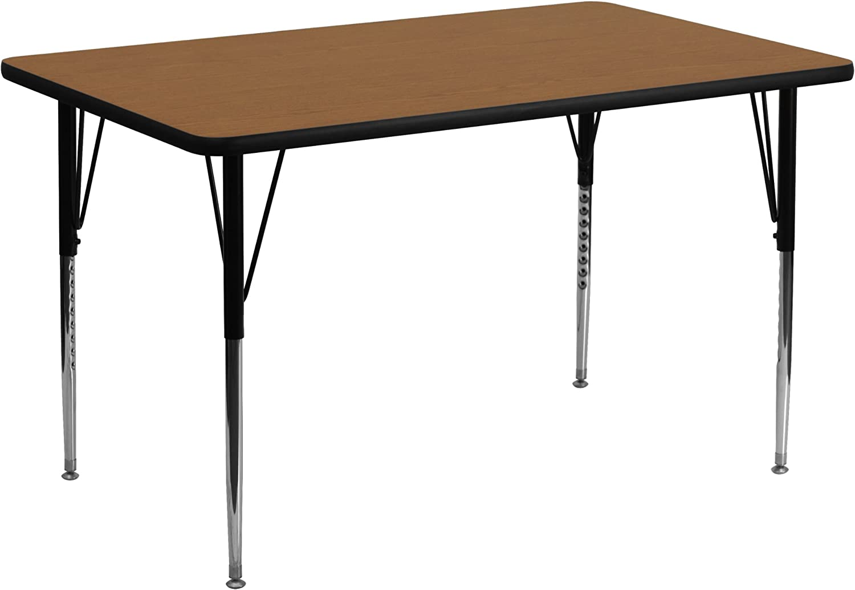 Flash Furniture 24''W x 48''L Rectangular Oak Thermal Laminate Activity Table - Standard Height Adjustable Legs