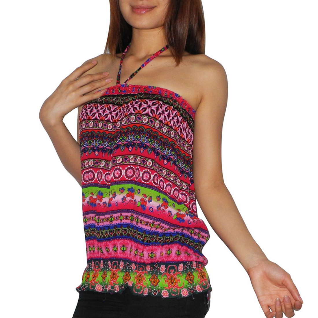 5079a28fc53 Womens Thai Boho Gathered   Smocked Crinkle Halter Tube Tunic Top   Shirt  (Size  one size)  Amazon.co.uk  Clothing