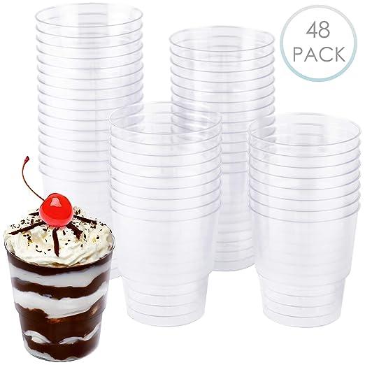 48 Tazas de postre de plástico (240 ml) - Plástico Duro ...