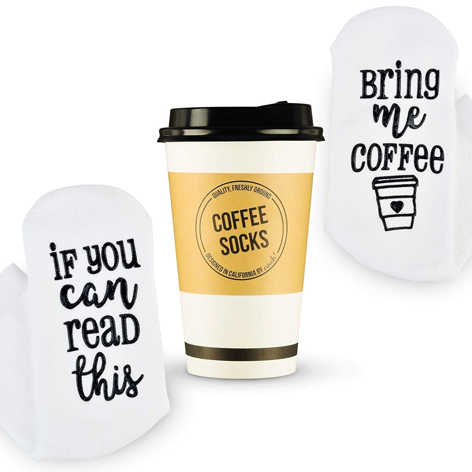 Luxury Coffee Socks with Paper Coffee Cup Gift Packaging: Valentines Day Gift If You Can Read This Bring Me Coffee Sock - Funny Coffee Lovers Gifts, Fun Socks for Women - Top Novelty Present Idea
