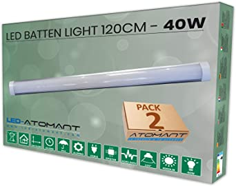 Oferta amazon: Pack 2x Lampara integrada Led 40W. Color blanco neutro 4500K, 120 cm. 3300 lumenes reales. T8 LED           [Clase de eficiencia energética A++]