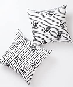 Pantaknot Eyes Decorative Throw Pillow Covers Set of 2 Abstract Art Pillowcase Cushion Home Décor, 18 x 18 Inch