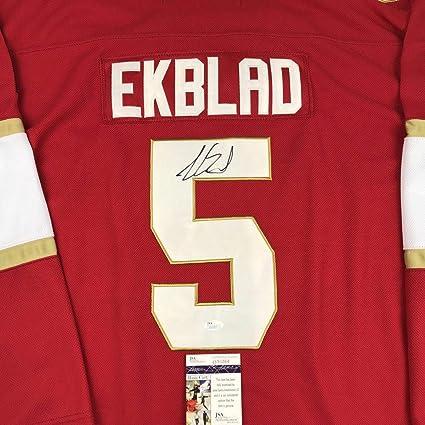huge discount 161b7 a8cd9 Aaron Ekblad Autographed Jersey - Red COA - JSA Certified ...