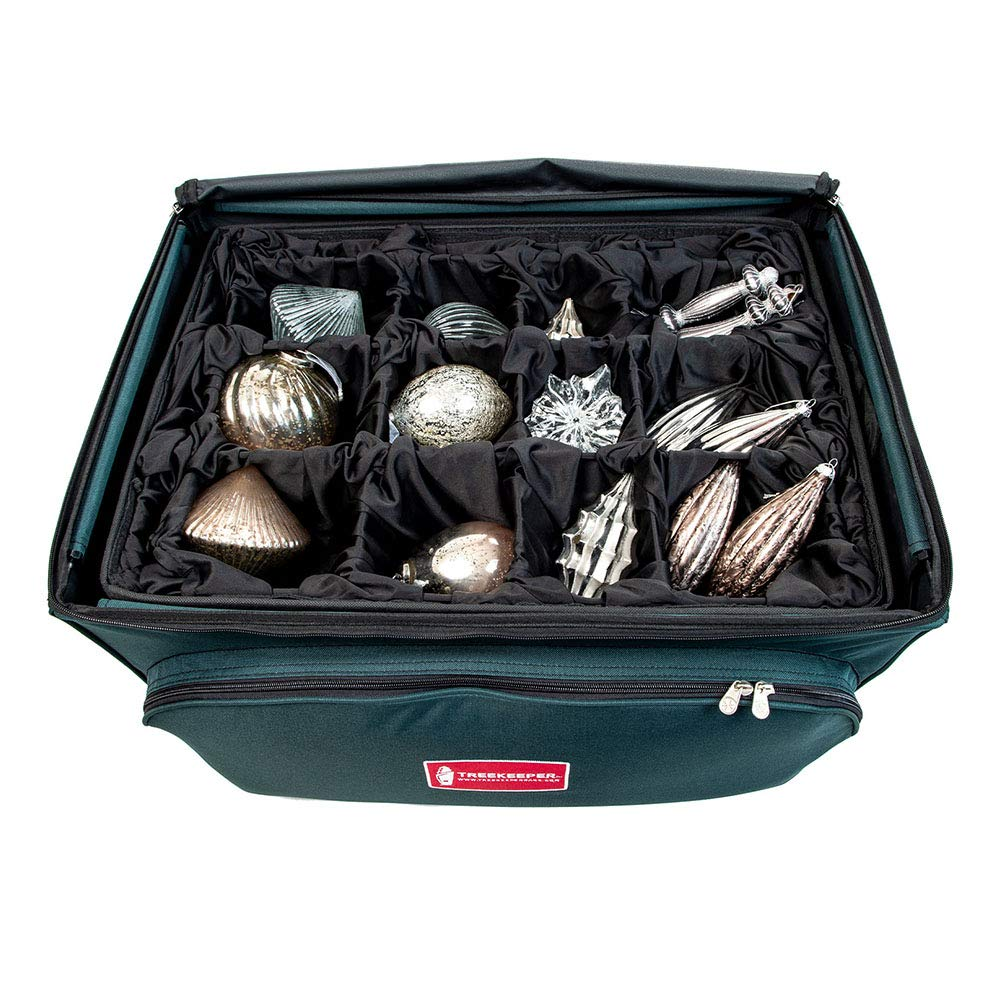 Holds 48 Ornaments up to 6 Inches Tall by Nearly Any Width and Length   2 Removable Trays with Moving Separators - Deluxe Ornament Keeper - Adjustable Christmas Ornament Storage Box with Dividers