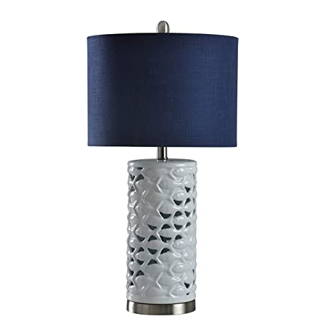 a20815e27d6a School of Fish Cylindrical White Table Lamp - Navy Blue Shade - - Amazon.com