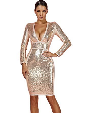 1b0e17ef6e Whoinshop Women s Long Sleeves Sequin and Bandage Deep Plunge Midi Evening  Dress Gold XS