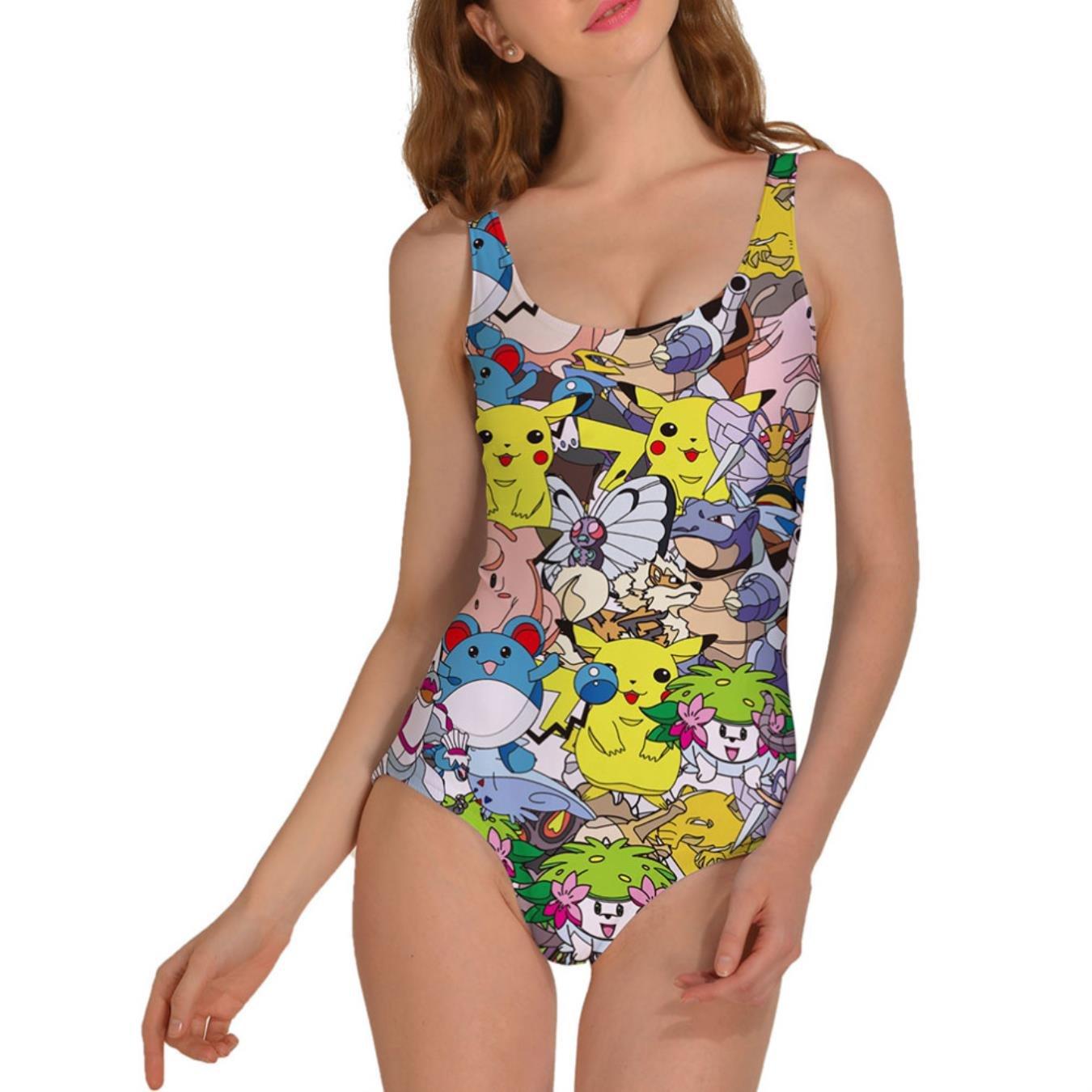 Women New Style Pokemon Print Bodysuit Backless Beach Swimwear Women One Piece Swimsuit
