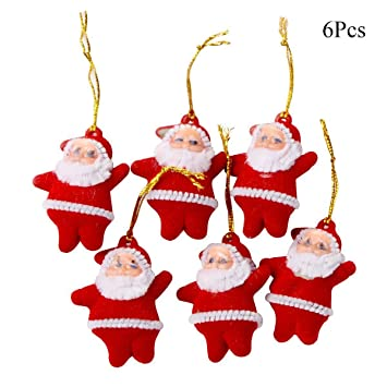 mmttao christmas santa hanging mini santa claus doll pendant hanging ornaments for christmas tree hanging decorations - Christmas Hanging Decorations