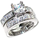 Stainless Steel Never Tarnish Amazing Simulated Diamonds Princess Cut Ring And Band Set (7.29g). Stamped. Luxury suede pouch included.
